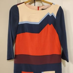 Tibi Silk Multicolor Long Sleeve Dress Size 0